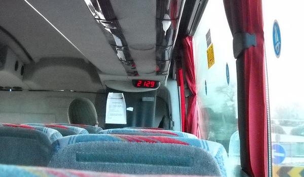 A clock on Bus Eireann, incorrect